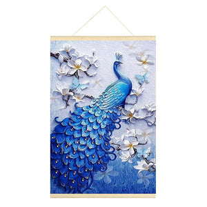 Hanging Diamond Painting-DIY Full Round Drill Peacock(No need for frame)