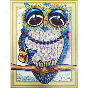Diamond Painting-DIY Partial Crystal Rhinestones Owl in Disguise