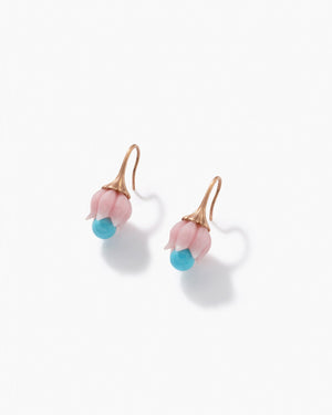 Pink Opal Lily of the Valley Earrings 18K Rose Gold - Exclusive - Irene Neuwirth