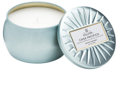 Voluspa Petite Decorative Tin Candle - Casa Pacifica