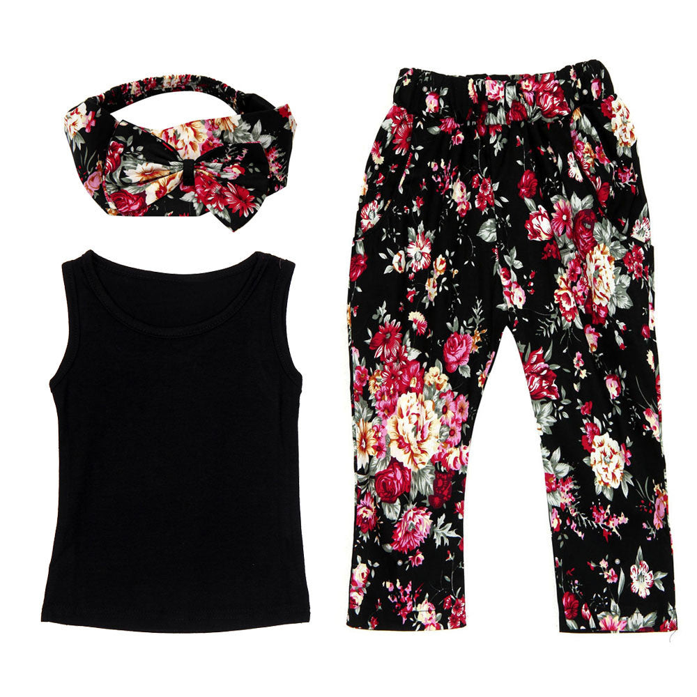 Kids Baby Girls set Sleeveless Shirt/Tops + Floral Pants + Hair Band Set Clothes girl set summer Drop ship