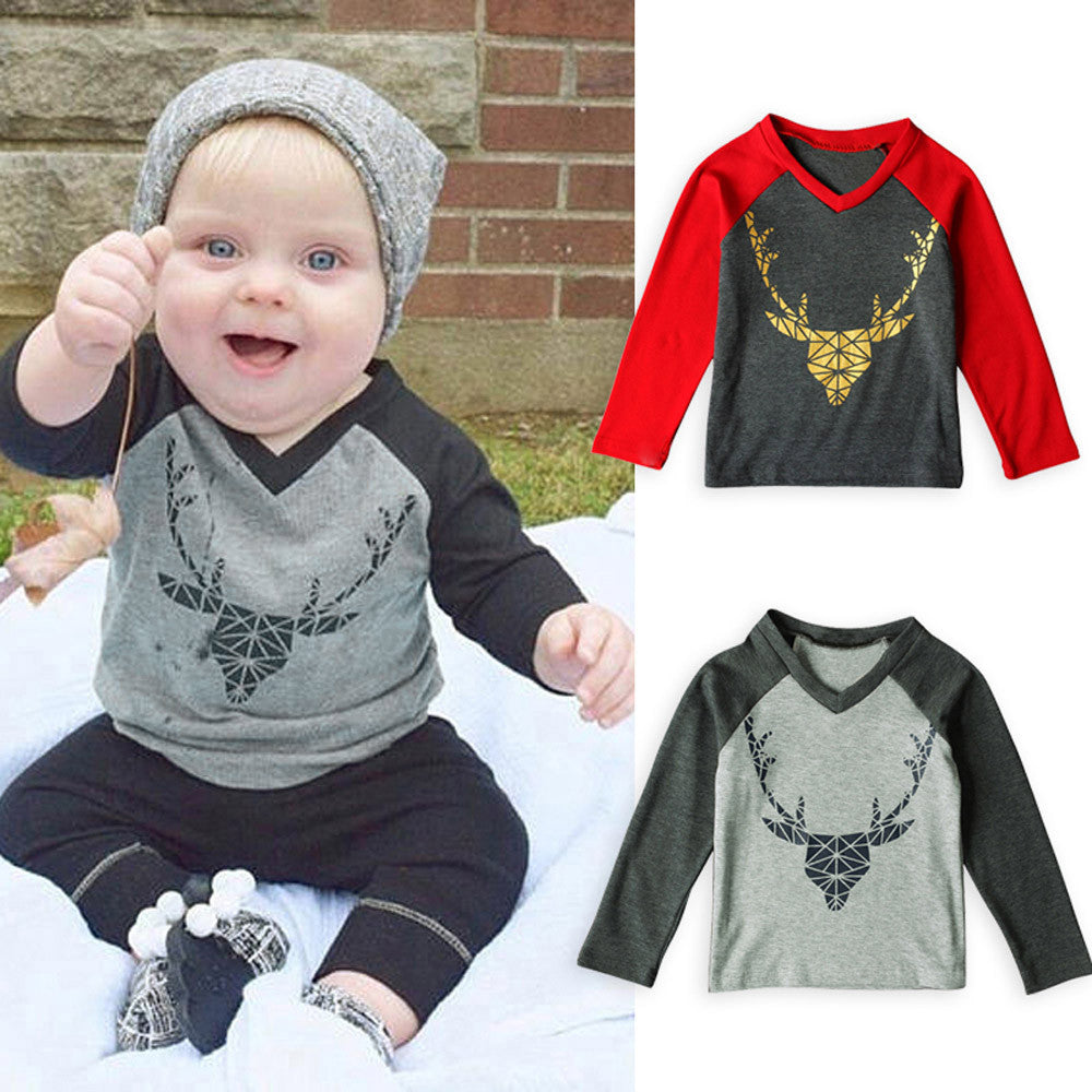 2017 Casual boys girls deer print long sleeve t shirts Kids Girls Baby Xmas Long Sleeve Tops T-shirt Christmas Clothes