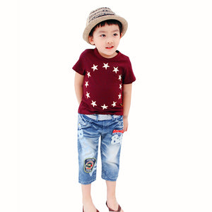 2016 Summer Child Kids Boys Short Sleeve T shirts Stars Short Sleeve Cotton Casual Tops Baby