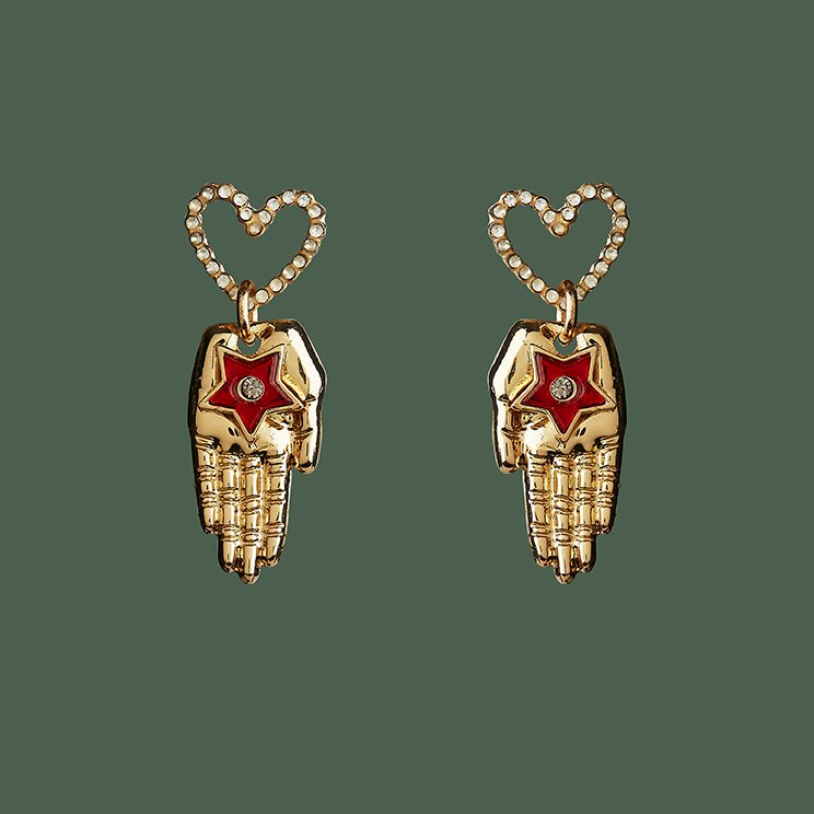 LITTLE HEART & HAND EARRINGS