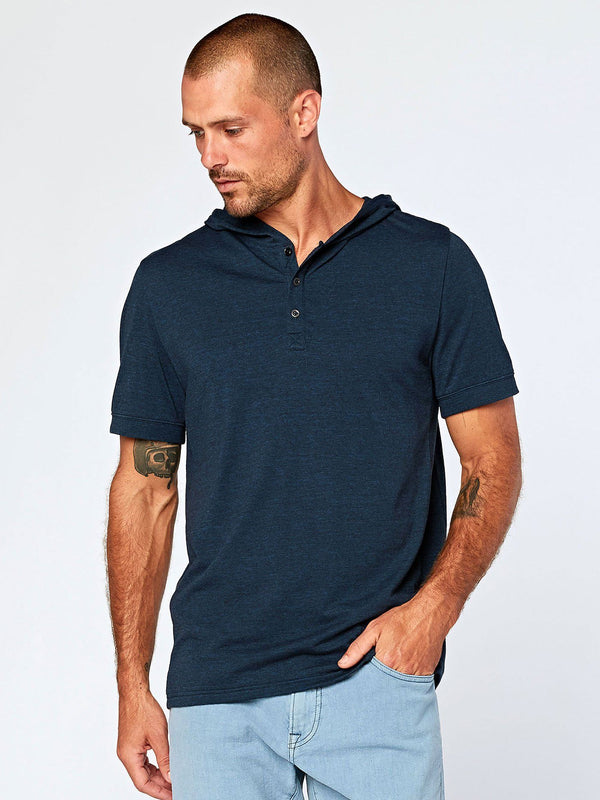 Short Sleeve Hooded Triblend Henley
