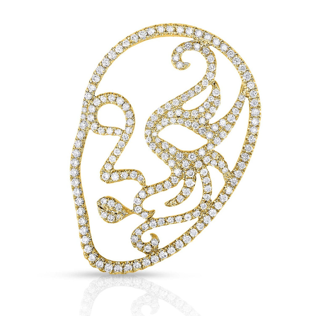 kosmos venetian mask yellow gold and diamond pendant