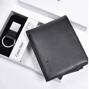 Calvin Klein Wallet with Leather Key Chain for Men - Black