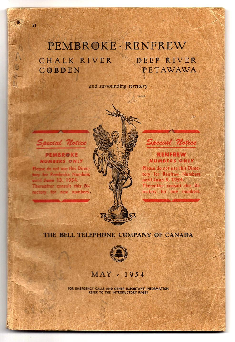 Pembroke - Renfrew Bell telephone book May 1954