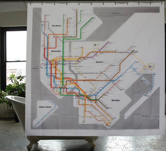 NYC Vignelli Subway Map Shower Curtain