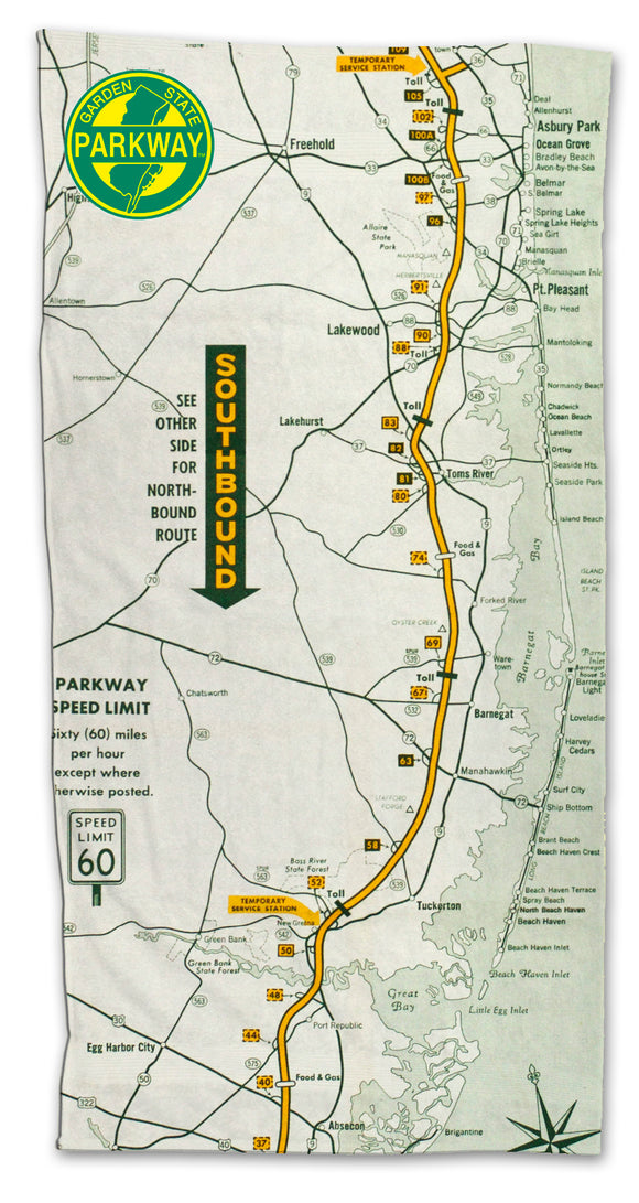 Garden State Parkway Retro Map Towel