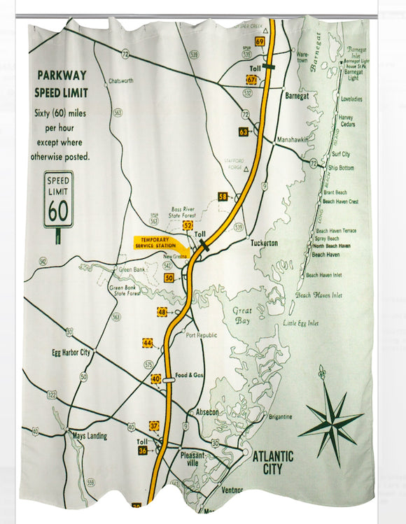 Garden State Parkway Retro Map Shower Curtain