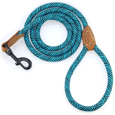 Mountain Climbing Dog Rope Leash with Metal Sturdy Clasp and Leather Top