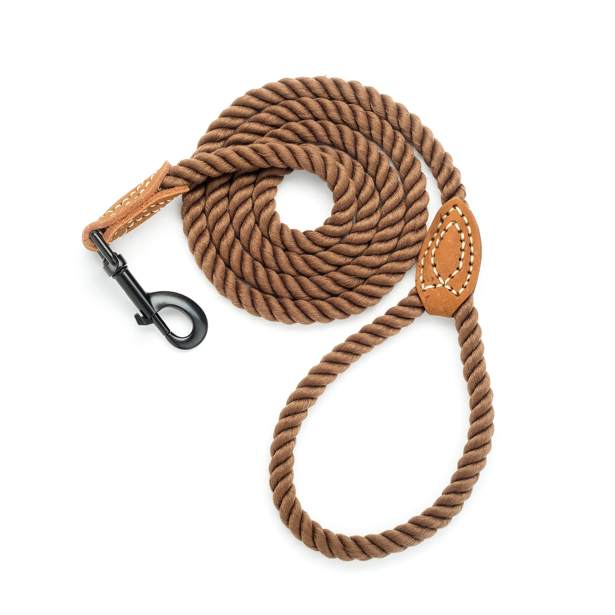 Whole Sale ( Dozen)  Braided Cotton Rope Leash with Leather Tip (Free Shipping )