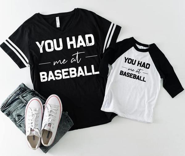 """You Had Me At Baseball"" Mom & Me Matching Baseball Lover T-Shirts"