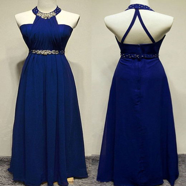 Halter Royal Blue Sleeveless With Beaded Long Prom Dress, Party Dress, Prom Dresses, VB0258 - Visionbridal