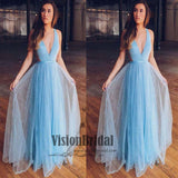 Chic Sky Blue Deep V-Neck A-Line Floor Length Shinny Prom Dress, Simple Prom Dress, VB0532 - Visionbridal