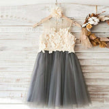 Cute Top Lace Appliques Grey Tulle Sleeveless Custom Flower Girl Dresses, VB0634