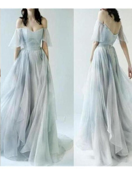 2018 Newest Off The Shoulder Sweetheart Open Back A-Line Chiffon Floor Length Prom Dress, Charming And Cheap Prom Dress, Prom Dresses, VB0326 - Visionbridal