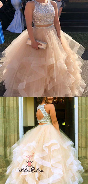 Shinny Top Sequin Two Piece Long A-Line Asymmetrical Organza Prom Dresses, Prom Dresses, VB01466