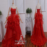 Classy Red Sweetheart Lace Up Asymmetrical Prom Dress With Ruffles, Chic Prom Dress, Prom Dress, VB0561 - Visionbridal