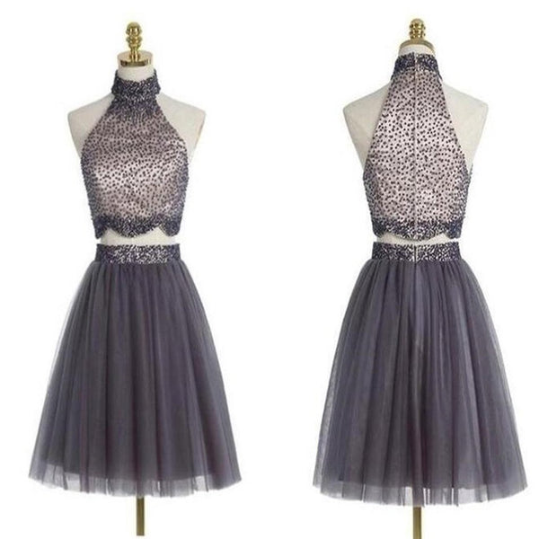 Popular grey halter two pieces beaded vintage unique style homecoming prom gowns dress,VB0184 - Visionbridal