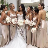 Spaghetti Straps Crisscross Back Long Mermaid Bridesmaid Dresses, Bridesmaid Dresses, VB02334