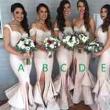 Mismatched Unique Design Different Styles Sexy Mermaid Side Split Women Charming Sequin Cheap Bridesmaid Dresses, VB0125 - Visionbridal