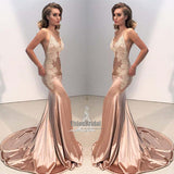 Gorgeous Gold Spaghetti Straps V-Neck Mermaid Prom Dress With Trailing, Prom Dress, VB0538 - Visionbridal