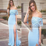 Charming Blue Lace Off Shoulder Side Slit Mermaid Long Evening Prom Dresses, Prom Dresses, VB065