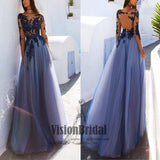 Scoop Neckline Long Sleeves Lace Yarn Top Prom Dress, Open Back A-Line Long Prom Dress, Prom Dresses, VB0273 - Visionbridal