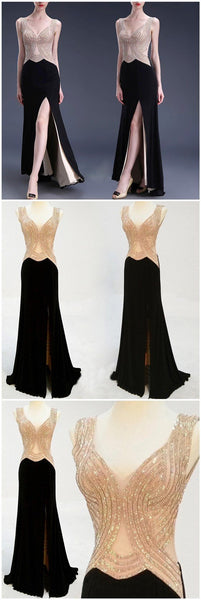 Sexy Black Side Slit Beading Formal Prom Dresses, Long Graduation Prom Dress, VB046 - Visionbridal