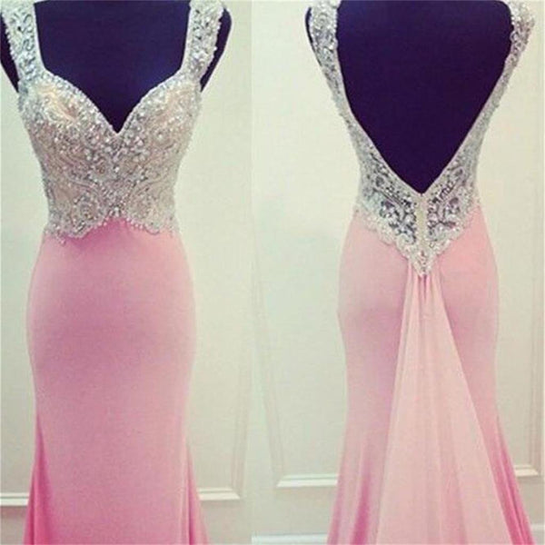 Pink Mermaid Open Back Prom Dresses,Evening Prom Dresses,Custom Prom Dresses, VB025 - Visionbridal