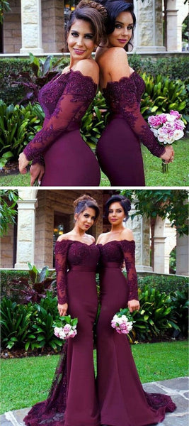 Sexy Burgundy Mermaid Long Sleeve Lace Long Bridesmaid Dresses With Trailing, VB0310 - Visionbridal