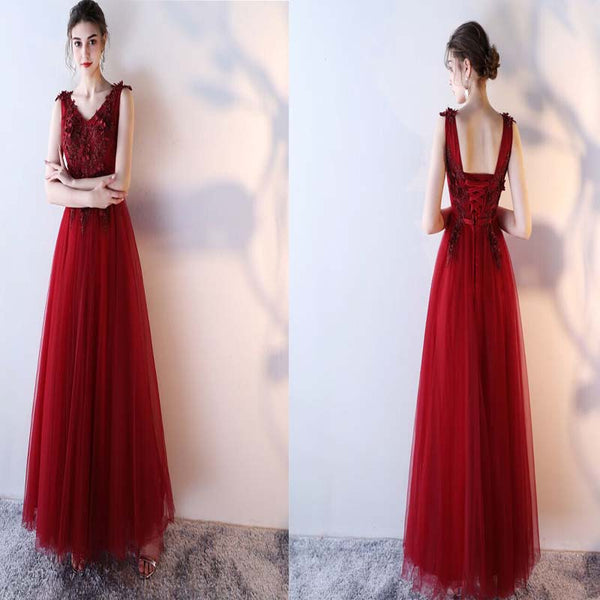 Red V-Neck Applique With Beaded A-Line Prom Dress, Red Lace Up And Zipper Up Prom Dress, Beautiful Prom Dress, Prom Dresses, VB0204 - Visionbridal