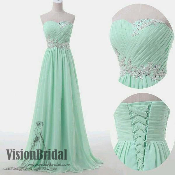 Sweetheart A-Line Floor Length Bridesmaid Dresses, Mint Green Beading Lace Up Bridesmaid Dresses, Popular Bridesmaid Dresses, VB0205 - Visionbridal