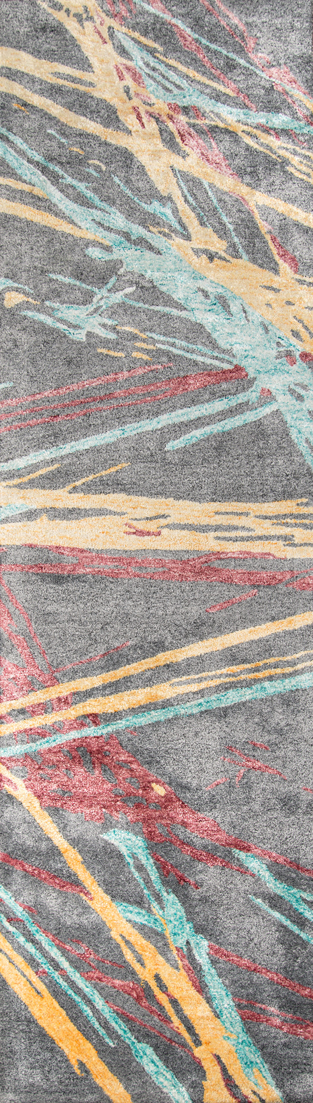 Abstract 80s Style Pink Yellow Blue Gray Rug