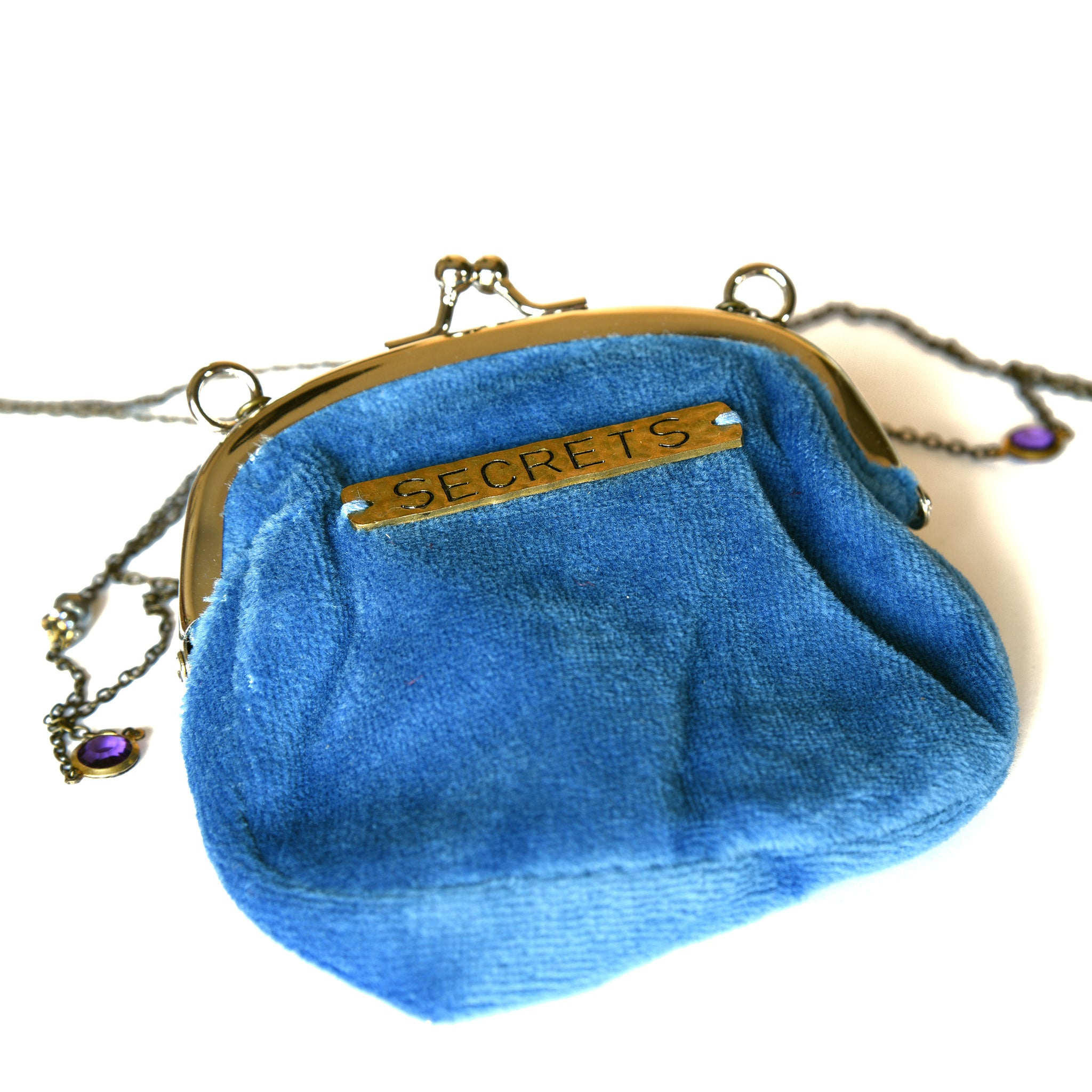 Secrets Blue Coin Purse with Jeweled Chain Strap