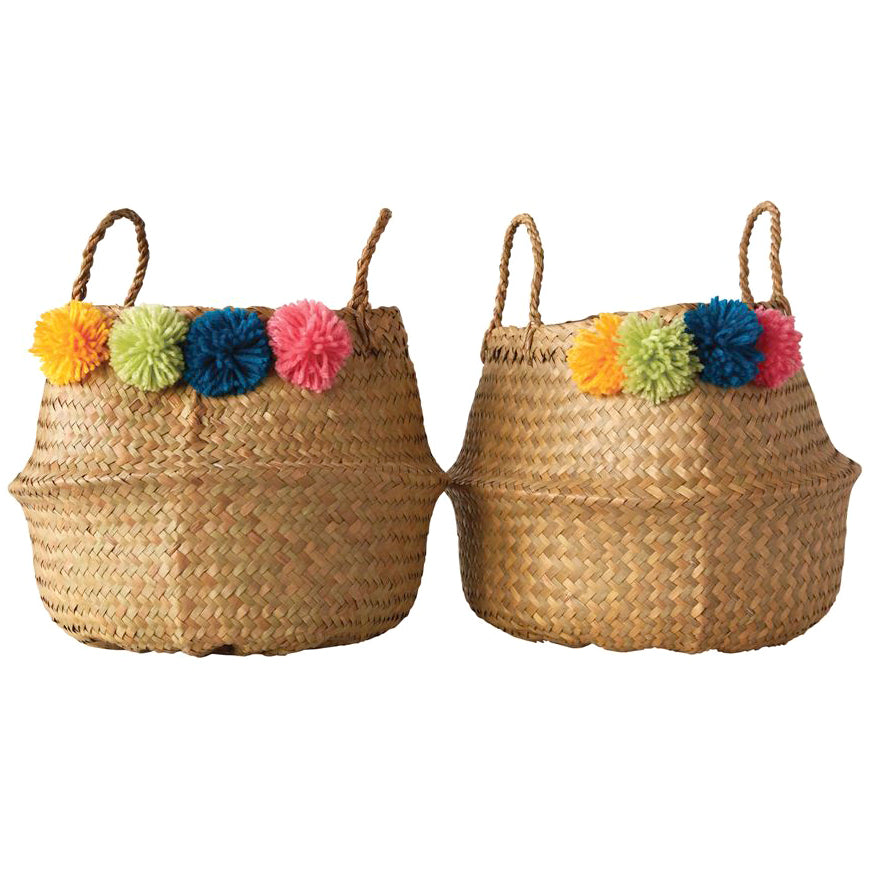 Boho Moroccan Pom Pom Storage Baskets - Set of 2