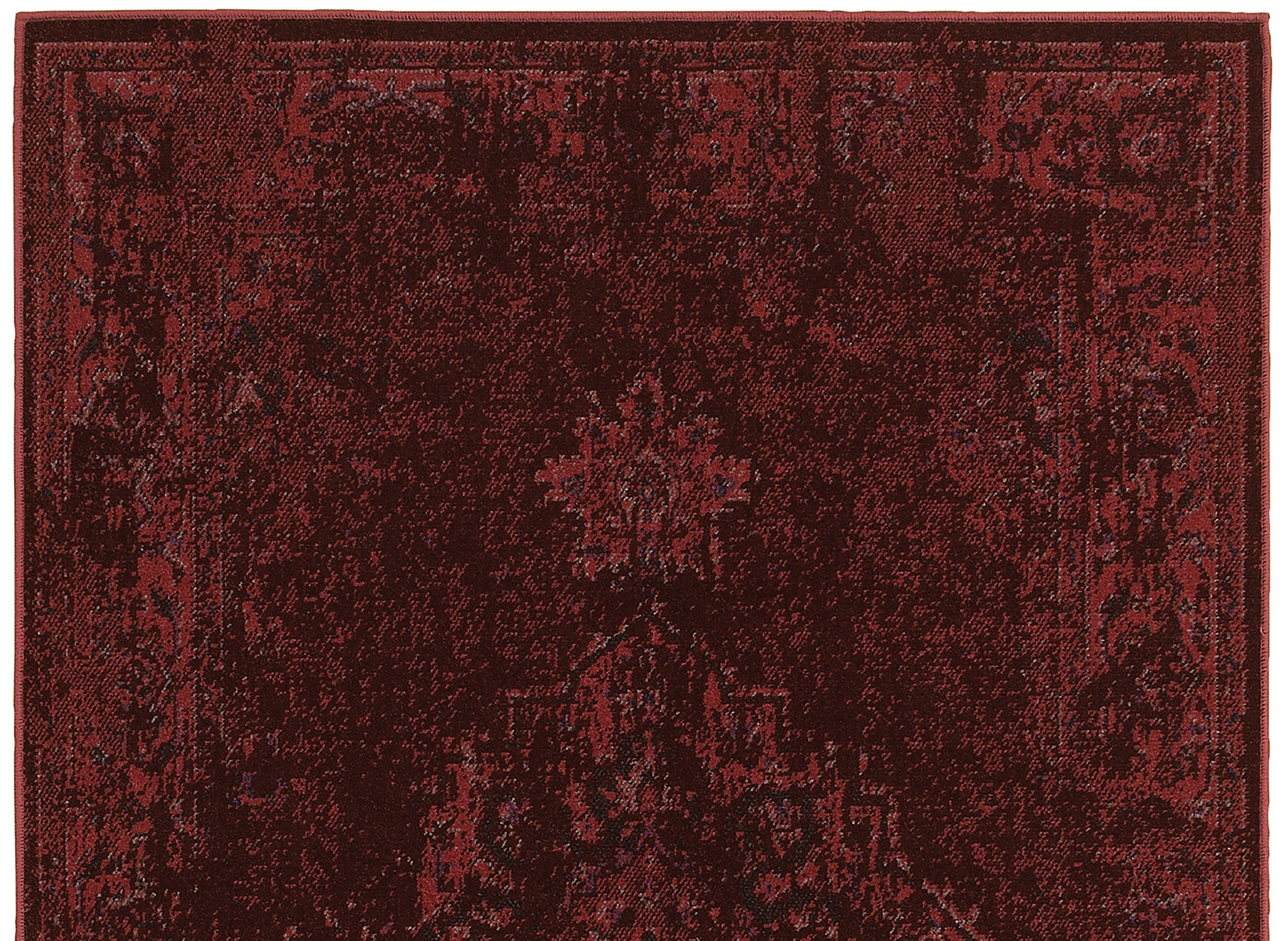 Dark Red Worn Persian Style Rug
