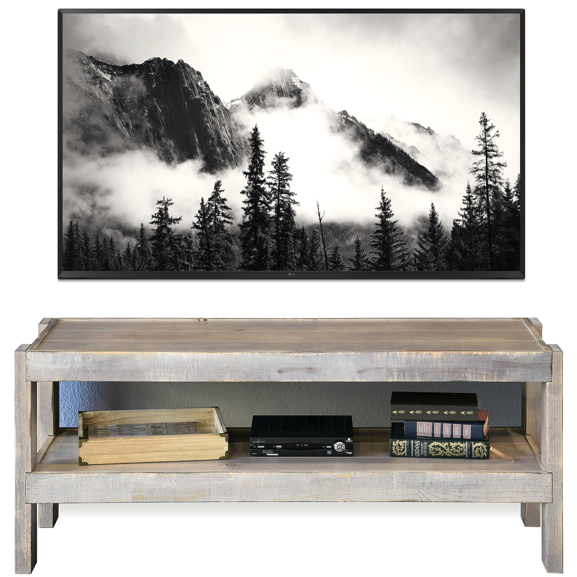Gray Rustic Reclaimed Pallet Wood Style TV Stand Console - presEARTH - Lakewood