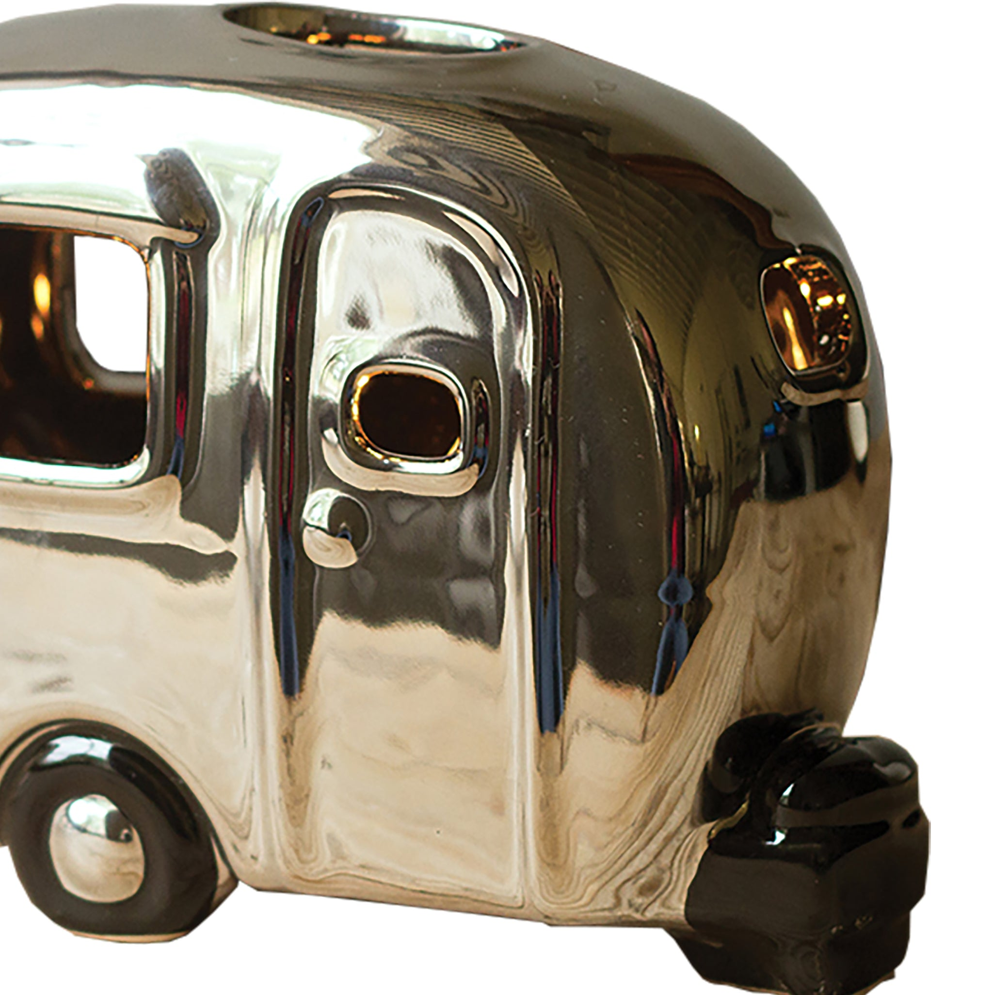 Mini Silver Chrome Ceramic Camper Accent Lamp