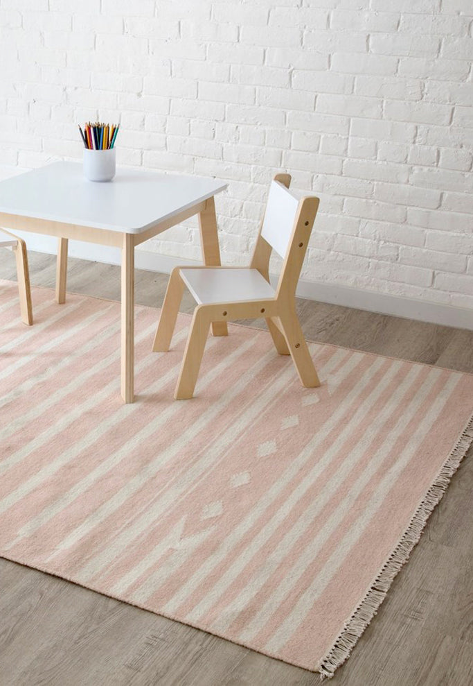 Pink and White Striped Southwest Flatweave Rug - Erin Gates - Thompson