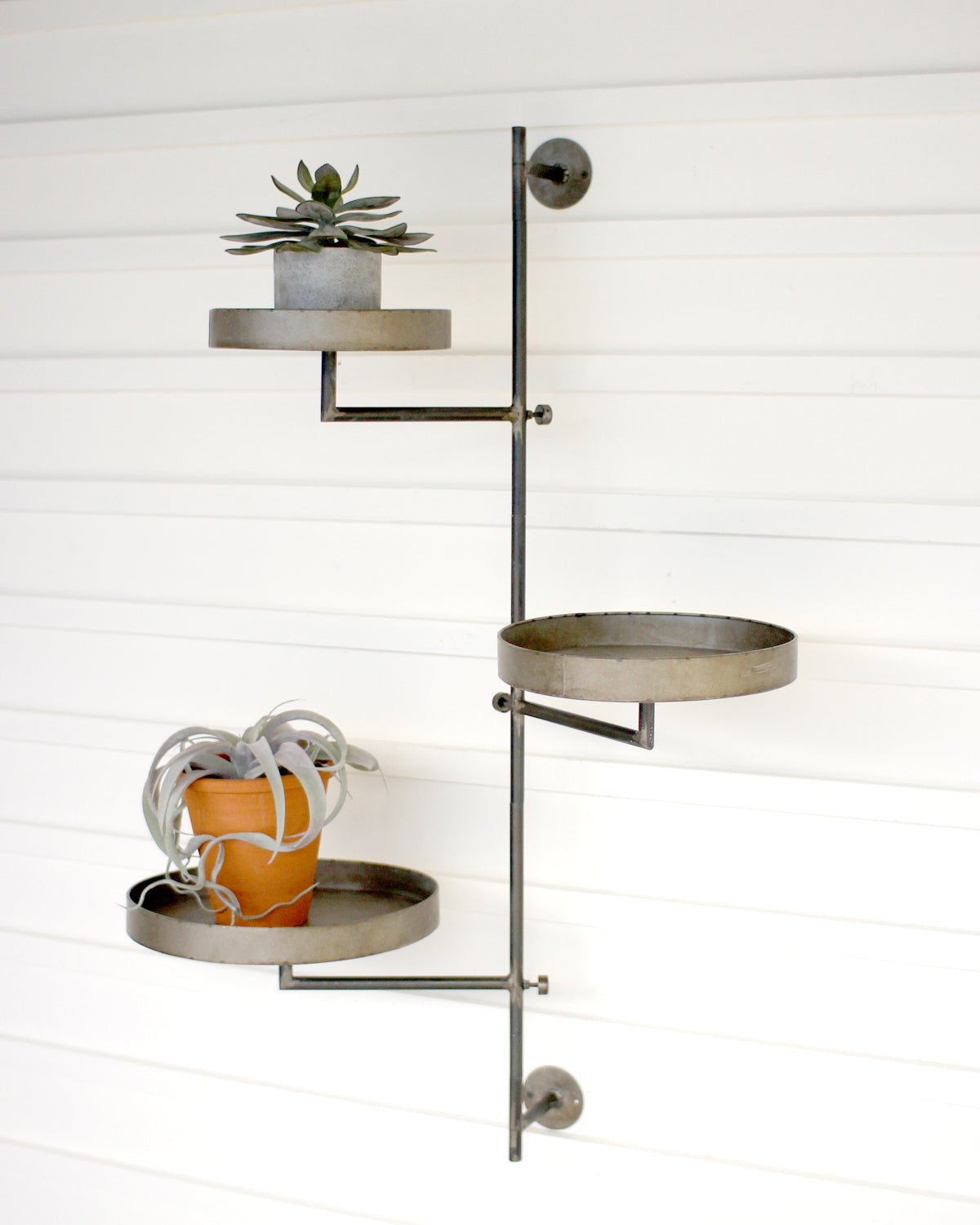 Round Industrial Modern Vertical Wall Shelves