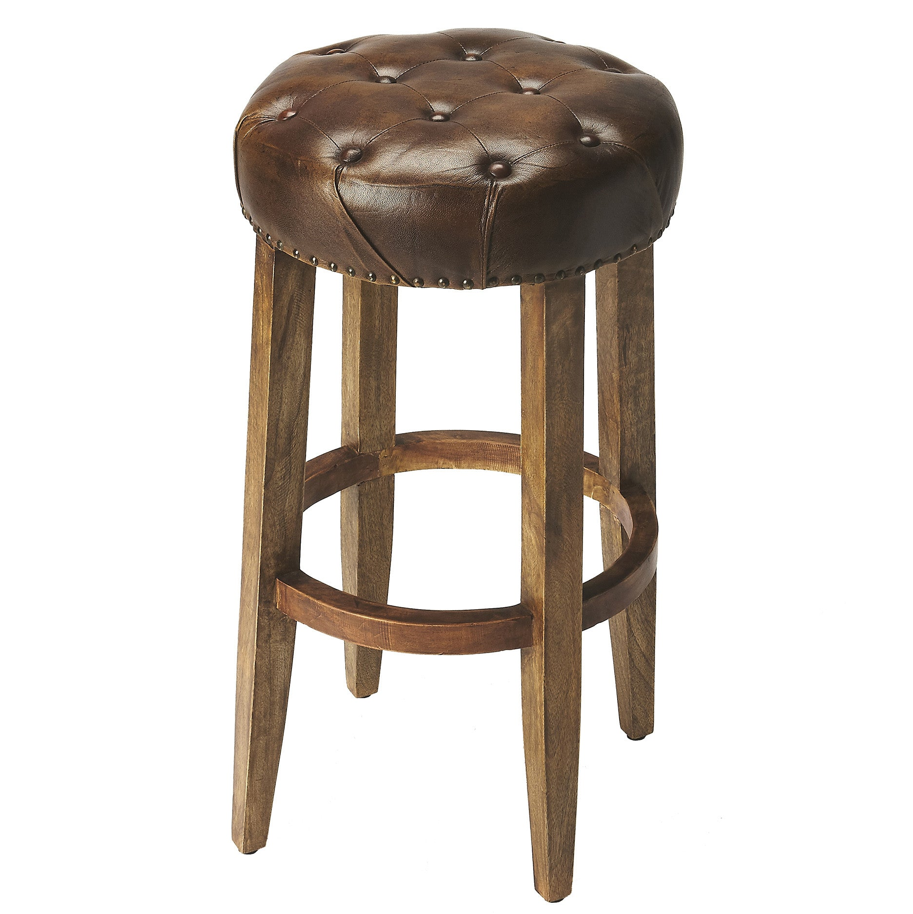 Wood and Leather Industrial Modern Bar Stool