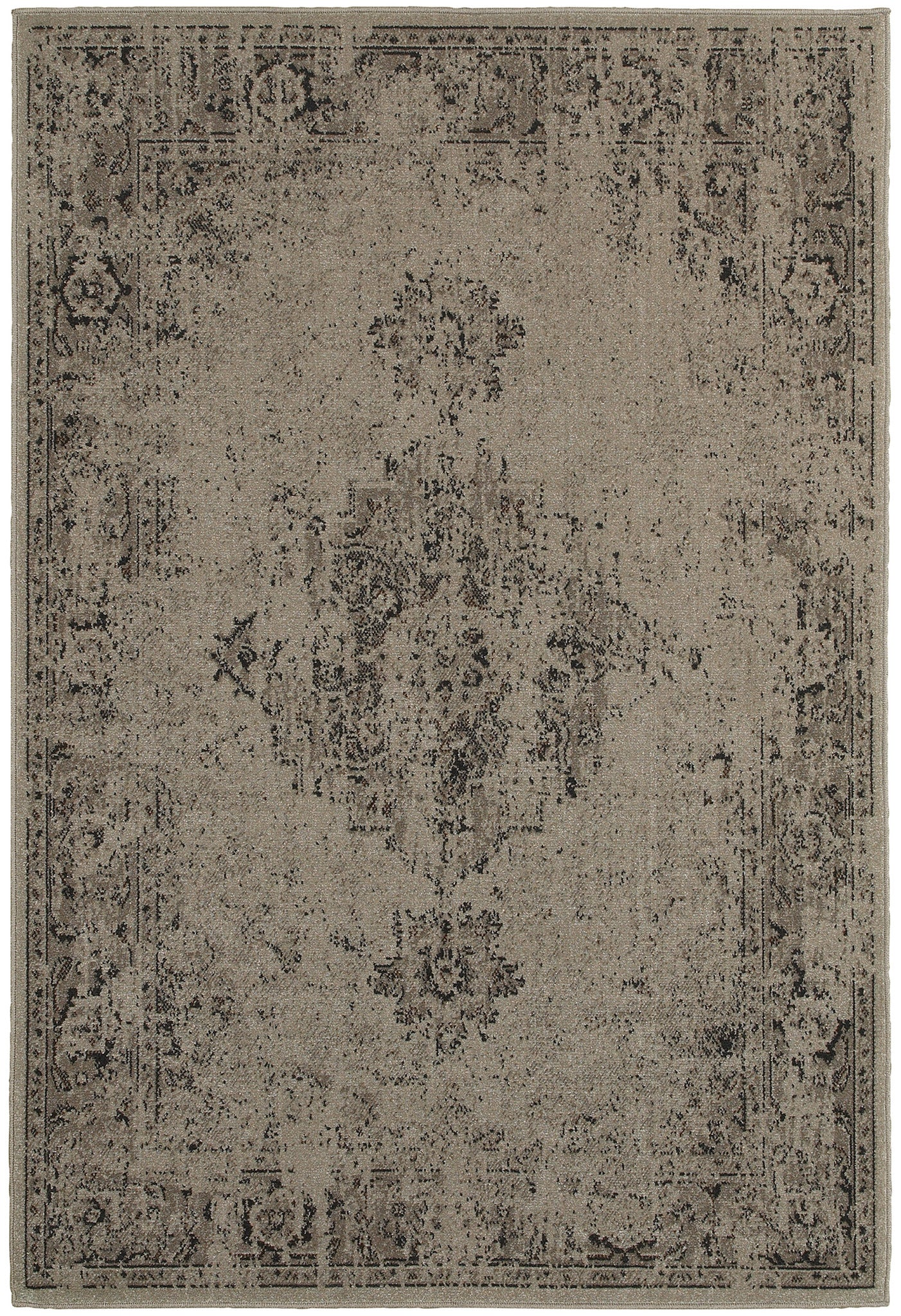 Worn Gray Faded Rug