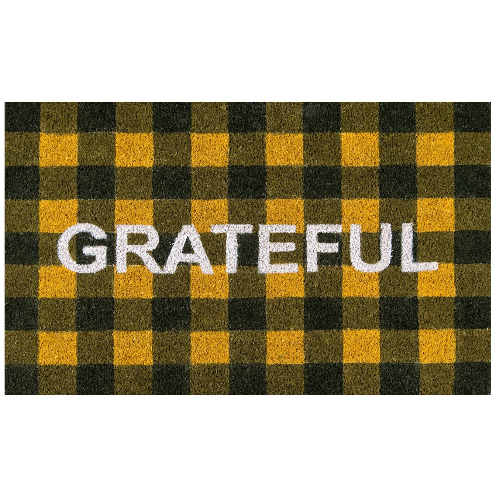 Yellow Plaid Checker Doormat - Novogratz Grateful Gold