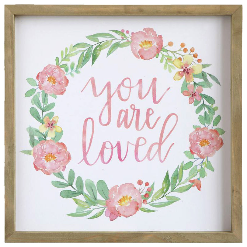 You Are Loved Pink Kids Baby Nursery Wall Art Decor