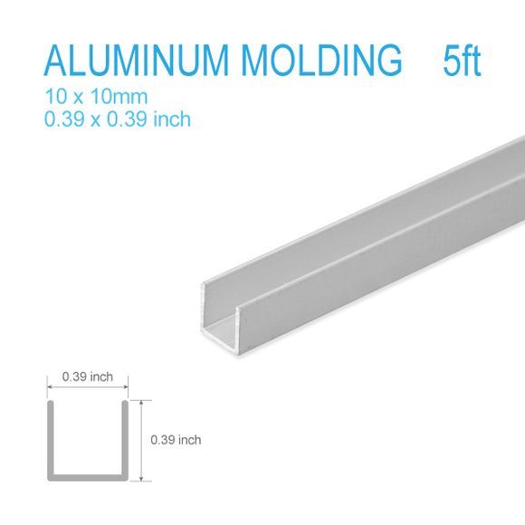 ALUMINUM U-MOLDING-10mm X 10mm X 5FT