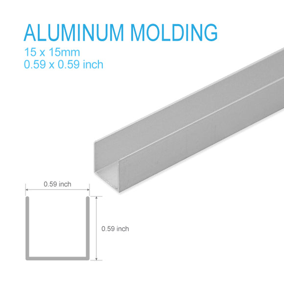 ALUMINUM U-MOLDING-15mm X 15mm X 5FT