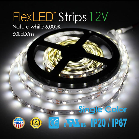 Flex LED Strips 12V 60LED/m-Nature white 6,000K-72W 300LED/16.4FT [IP20/IP67]